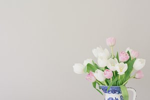 Pink & White Tulips in Vintage Vase