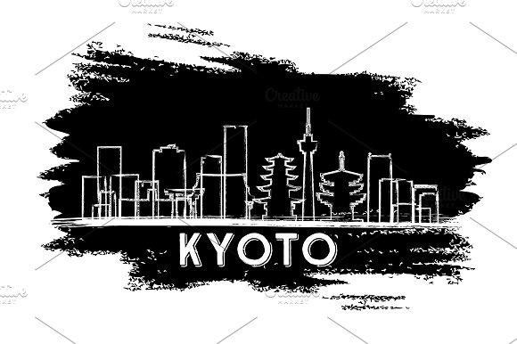 Kyoto Japan Skyline Silhouette