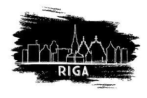 Riga Latvia Skyline Silhouette.
