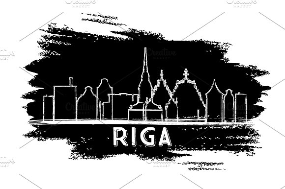Riga Latvia Skyline Silhouette