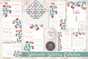 Rosehip Berry Watercolor Wedding Set