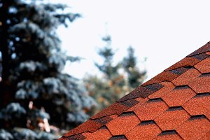 Roof tiles line bokeh background