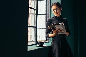 Beautiful female reading fashion