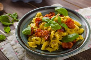 Tortellini with roasted vegetable and herbs