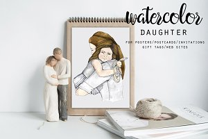 Watercolor Mother & Daughter