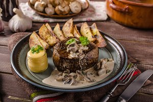 Steak with pepper sauce and mushrooms