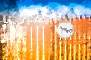 Horse road sign on countryside fence background illustration
