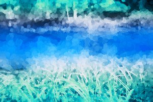 Horizontal river with grass on it's banks llustration background