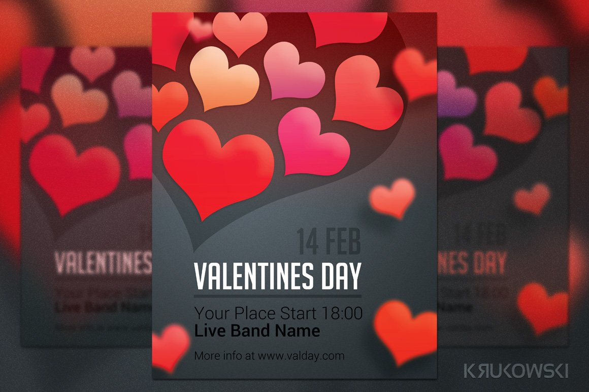 Simple Valentines Day Flyer Flyer Templates Creative Market
