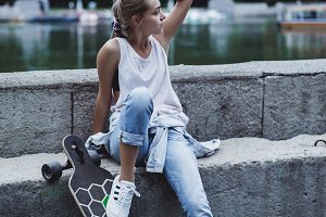 Girl on a skateboard in the city