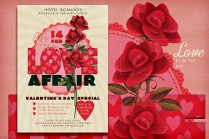 Valentine Romantic Red Roses flyer