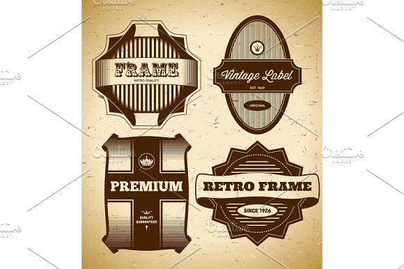 Set Of Big Vintage Labels
