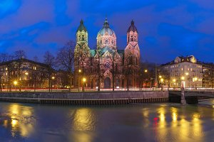 Saint Lucas Church at night in Munich, Germany