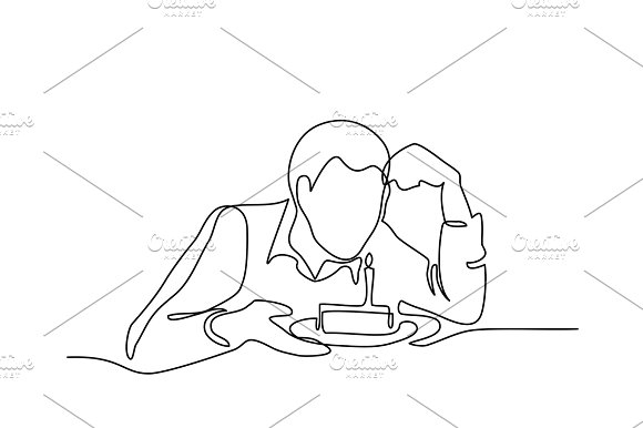 Man Holding Birthday Cake With Candle