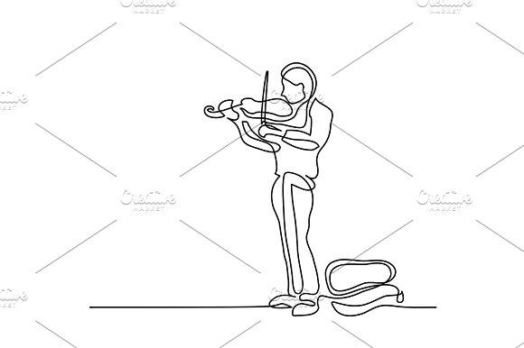 Street Musician Man Playing The Violin