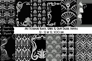 Black & White Art Nouveau Paper