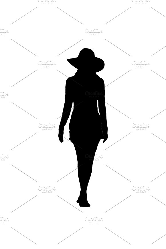 Isolated Silhouette Woman With Hat Back View