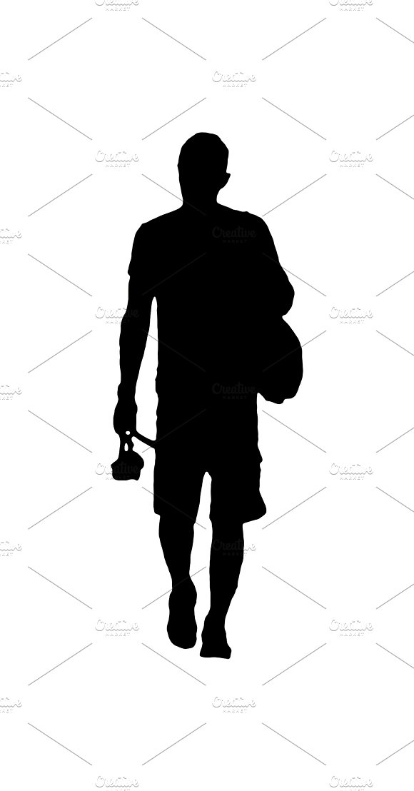 Isolated Silhouette Man Walking Back View