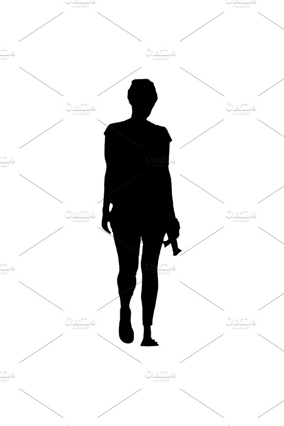 Isolated Silhouette Woman Walking Back View