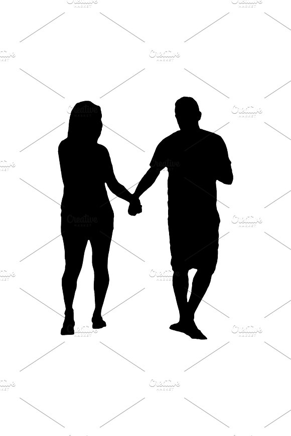 Adult Couple Silhouette Walking Isolated