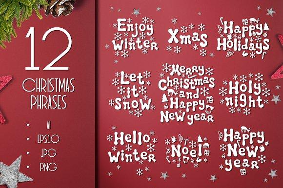 12 Christmas Calligraphy Phrases Set