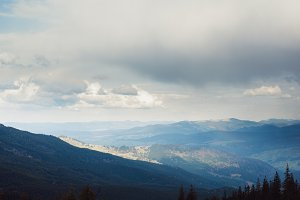 Beautiful cloudy sky in Carpatian Mountains