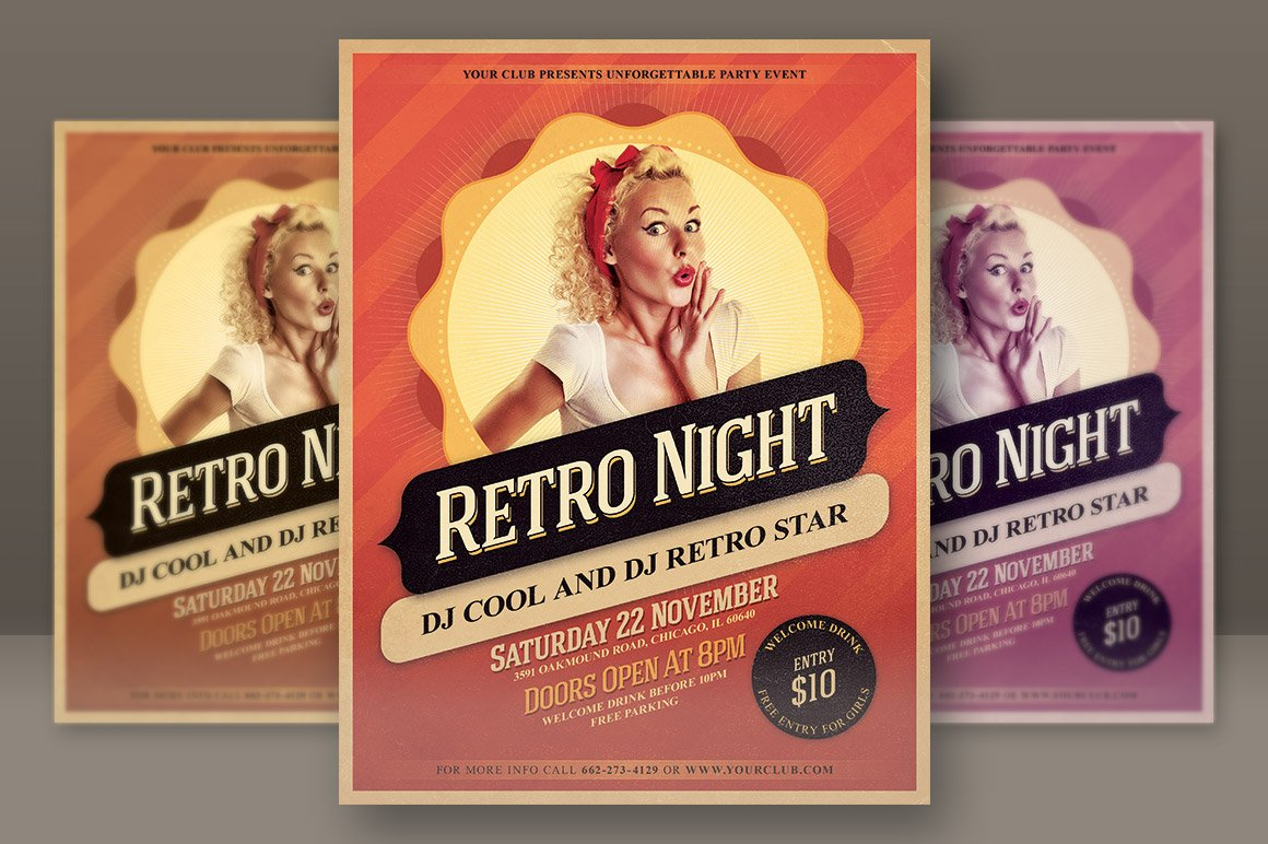 Retro Night Party Flyer ~ Flyer Templates ~ Creative Market