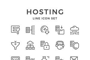Set line icons of hosting