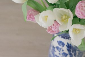 Muted Tulips in Vintage Vase