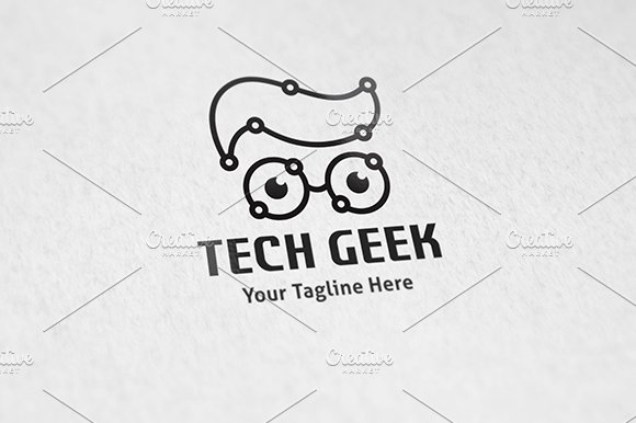 Tech geek logo template logo templates creative market fandeluxe Image collections