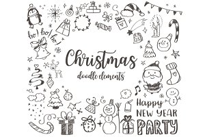 Big set of Christmas design elements
