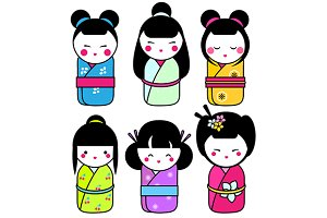Kawaii japanese kokeshi dolls icons