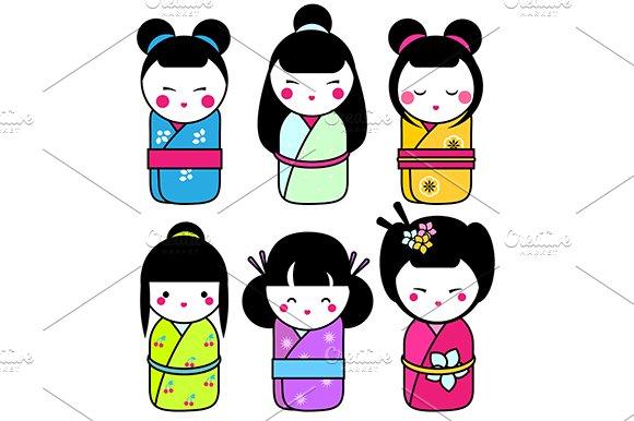 Kawaii Japanese Kokeshi Dolls Icons