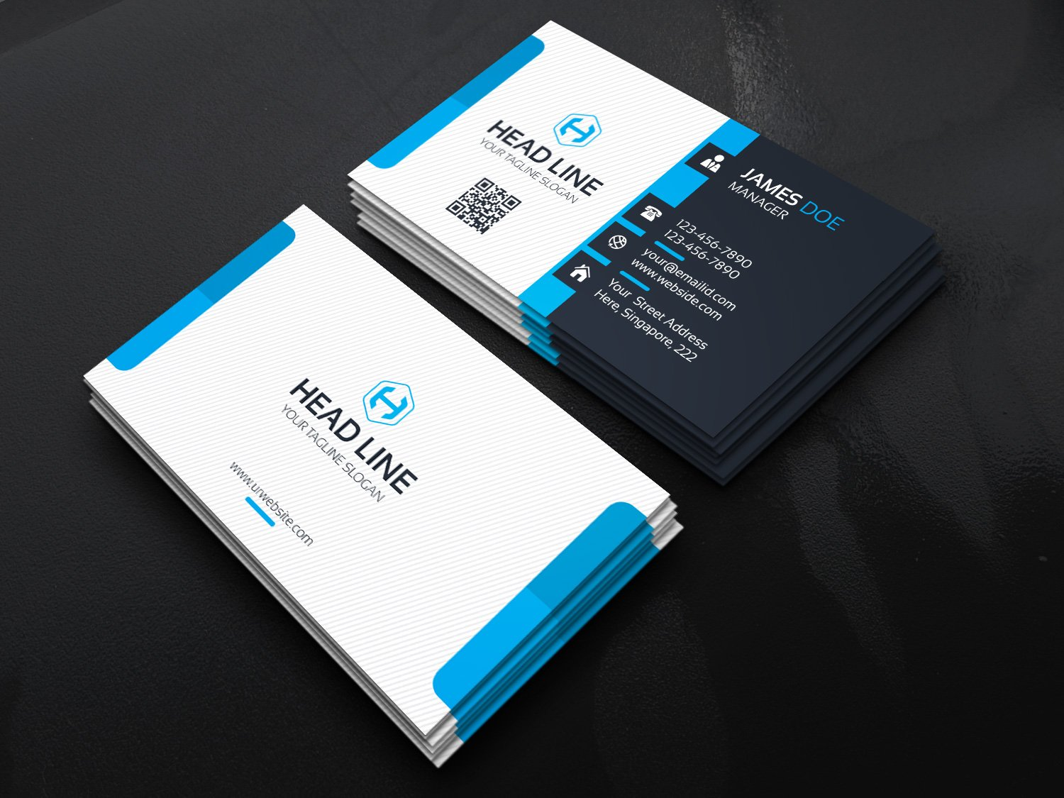Head line business card business card templates creative market reheart