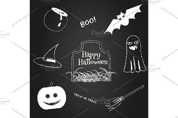 Hallowen Icons On Chalkboard
