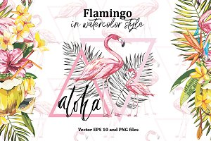Pink flamingo and tropical flowers