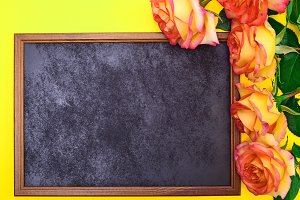 black frame with a bouquet