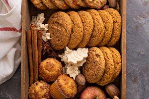 Fall cookies in a box