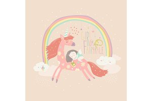 Cute cartoon girl with unicorn