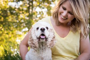 Cocker Spaniel with Blond Lady