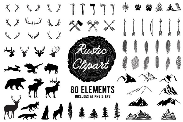 Rustic Clipart Volume 1 - AI PNG EP…