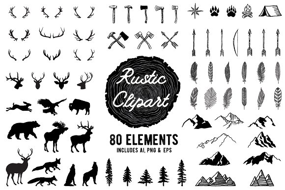 Rustic Clipart Designs AI PNG EPS