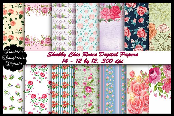 Shabby Chic Roses Digital Papers