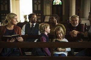Family in a church