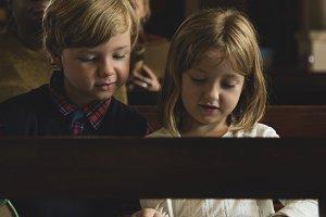 Kids in a church