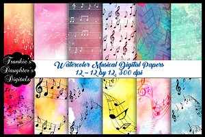 Musical Notes Watercolor Papers