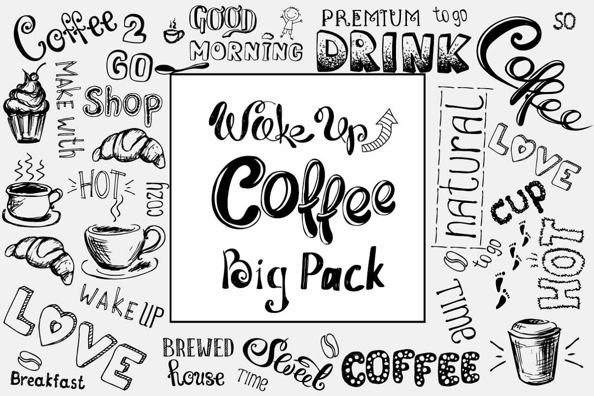 Big Pack COFFEE elements in Illustrations - product preview 8