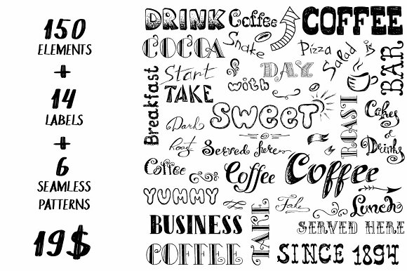 Big Pack COFFEE elements in Illustrations - product preview 1