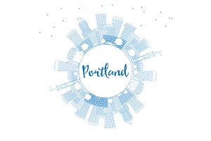 Outline Portland Skyline