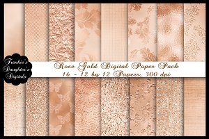 Rose Gold Foil Paper,16 12X12 Papers
